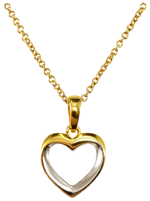 Yellow and White Gold Heart Pendant