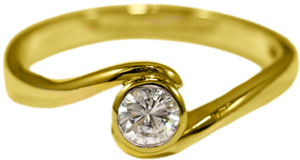 Yellow Gold Single Stone Diamond Ring